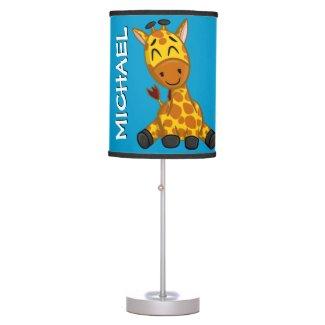 Cute Jungle Giraffe Blue Cartoon Rainforest Safari Table Lamp