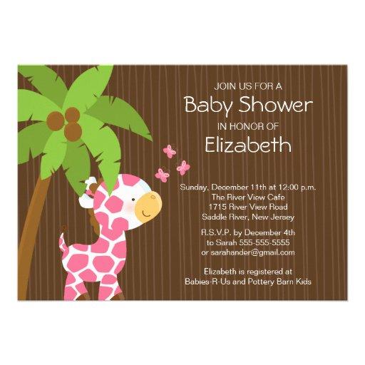 Cute Jungle Giraffe Girl Baby Shower Invitation
