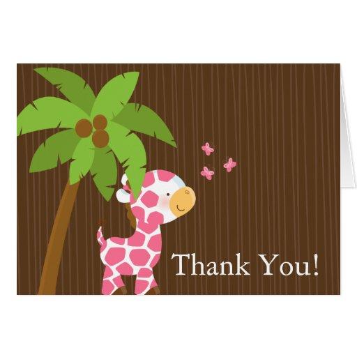 Cute Jungle Giraffe Girl Baby Shower Thank You Greeting Cards