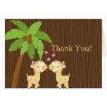 Cute Jungle Giraffe Multiple Baby Shower Thank You Cards