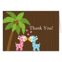 Cute Jungle Giraffe Multiple Baby Shower Thank You Greeting Cards