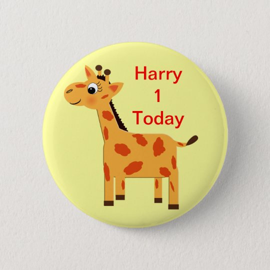 Cute Jungle Giraffe Personalized Age Butt Pinback Button
