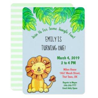 Cute Jungle Lion First Birthday Invitation