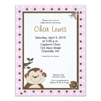 Cute Jungle Monkey Baby Shower Invitation