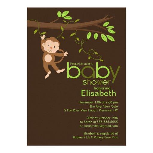 cute jungle monkey baby shower invitations 5 x 7 invitation card