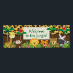 "Cute Jungle Safari Animals Baby Shower Banner Poster<br><div class=""desc"">Cute Jungle Safari Animals Baby Shower Banner featuring,  palm trees,  parrots,  giraffe,  monkey,  lion,  tiger,  cheetah &amp; zebra.  Wonderful addition to your safari jungle baby shower decor.  Can be personalized with your shower information.</div>"