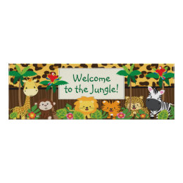 Cute Jungle Safari Animals Baby Shower Banner Poster