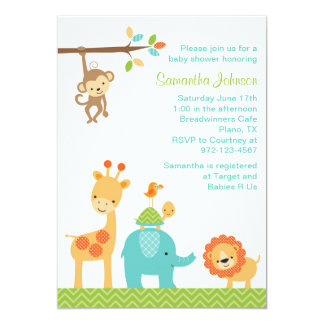 Beautiful Cute Jungle Safari Animals Baby Shower Invitation