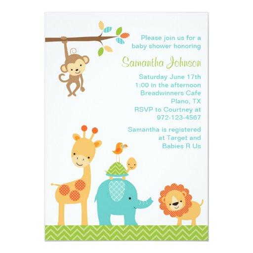 Cute Jungle Safari Animals Baby Shower Invitation