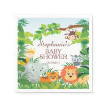 Cute Jungle Safari Animals Baby Shower Napkins