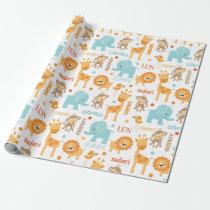 Cute Jungle Safari Animals Pattern Wrapping Paper