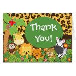 Cute Jungle Safari Animals Thank You Greeting Cards