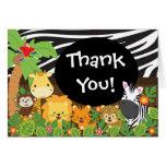Cute Jungle Safari Animals Thank You Cards