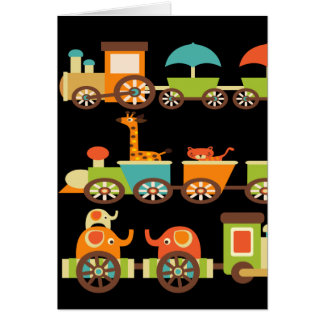 Cute Jungle Safari Animals Train Gifts Kids Baby Card