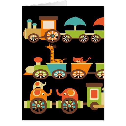 Cute Jungle Safari Animals Train Gifts Kids Baby Card
