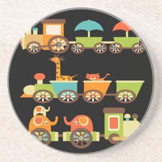 Cute Jungle Safari Animals Train Gifts Kids Baby Coaster