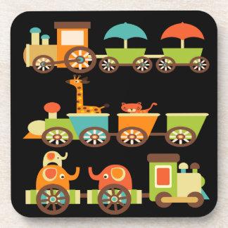 Cute Jungle Safari Animals Train Gifts Kids Baby Beverage Coasters