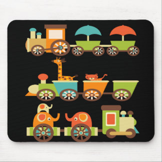 Cute Jungle Safari Animals Train Gifts Kids Baby Mousepad