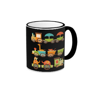 Cute Jungle Safari Animals Train Gifts Kids Baby Ringer Coffee Mug