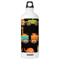Cute Jungle Safari Animals Train Kids Baby Aluminum Water Bottle
