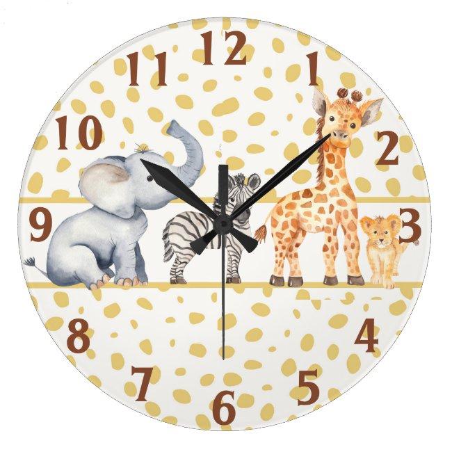Cute Jungle Safari Baby Animals Large Clock