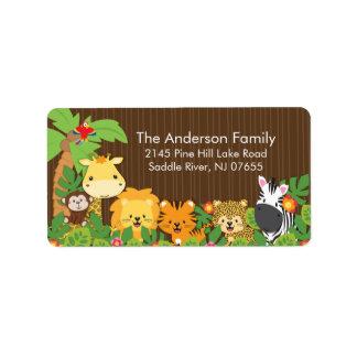 Cute Jungle Safari Baby Shower Address Label