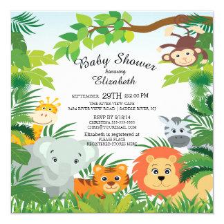 Charming Cute Jungle Safari Baby Shower Invitations