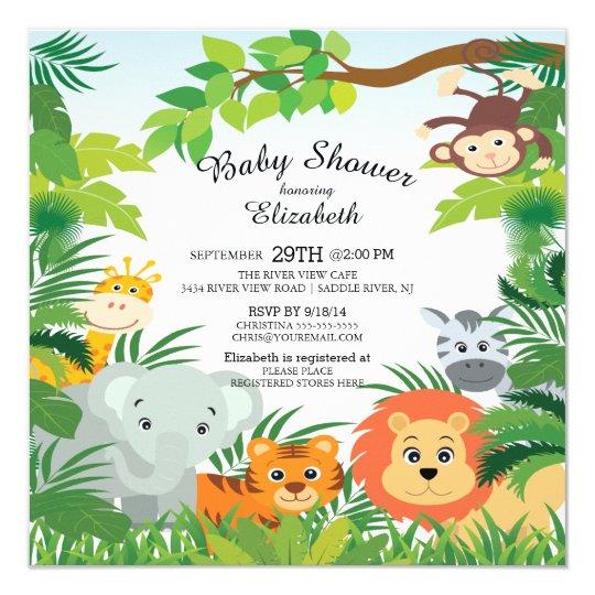 Amazing Cute Jungle Safari Baby Shower Invitations