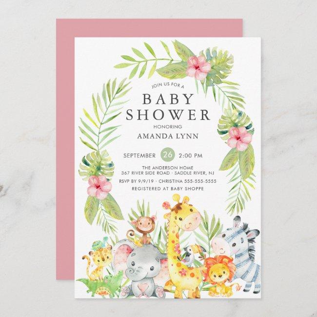 Cute Jungle Safari Girl Baby Shower Invitation