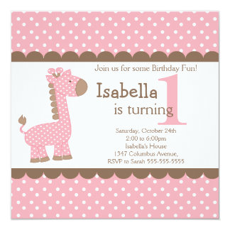 Cute Jungle Safari Pink Giraffe Birthday Party Card