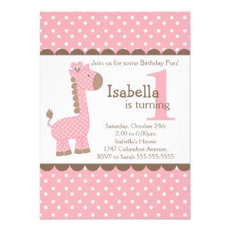 Cute Jungle Safari Pink Giraffe Birthday Party Custom Announcement