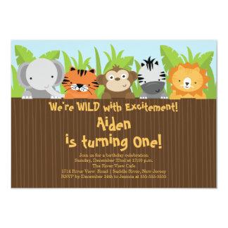 Cute Jungle Safari Zoo Animals Kids Birthday 4.5x6.25 Paper Invitation Card
