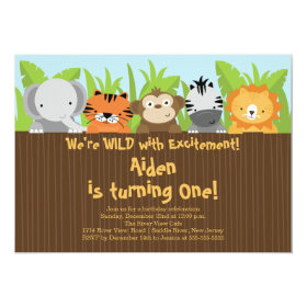 Cute Jungle Safari Zoo Animals Kids Birthday 5x7 Paper Invitation Card