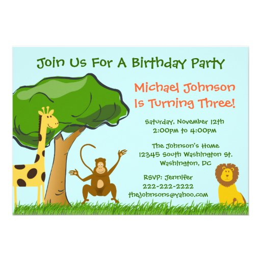 Cute Jungle Zoo Animals Grass Boy's Birthday Party Invitations