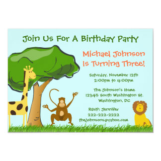 "Cute Jungle Zoo Animals Grass Boy's Birthday Party 5"" X 7"" Invitation Card"