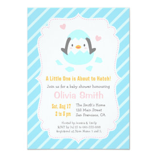 Cute Just Hatched Penguin Baby Shower Invitations
