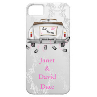CUTE JUST MARRIED IPHONE 5 CASE WHITE DAMASK