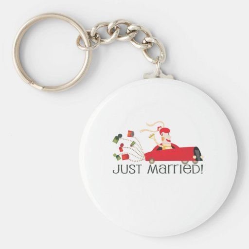 """Cute, Just Married, """"Wedding"""" design Key Chains"""