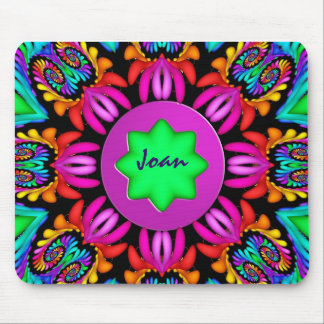 Cute Kaleidoscope Spirals mousepad with Name