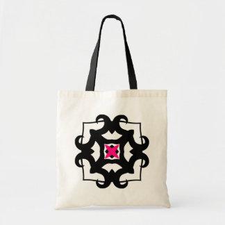 Cute kaleidoscopic black and hot pink emblem canvas bag