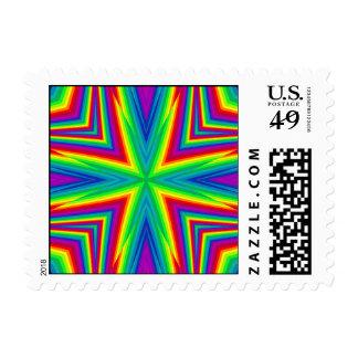 Cute kaleidoscopic bright rainbow small stamp