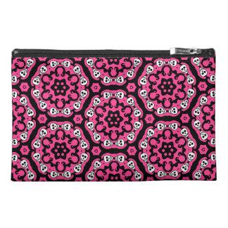 Cute kaleidoscopic skull damask hot pink travel accessories bag