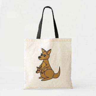 Cute Kangaroo and Joey Canvas Bag