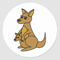 Cute Kangaroo and Joey Classic Round Sticker