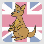Cute Kangaroo and Joey Flag Background Square Stickers