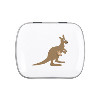 Cute Kangaroo and Joey Jelly Belly Candy Tin