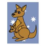 Cute Kangaroo and Joey Post Card