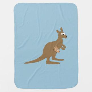 Cute Kangaroo and Joey Receiving Blanket