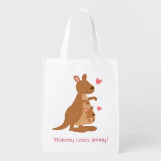 Cute Kangaroo Baby Joey For Kids Grocery Bags