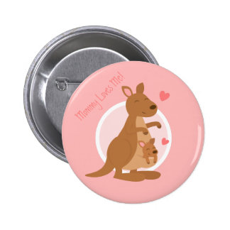 Cute Kangaroo Baby Joey Mother Child For Kids Button
